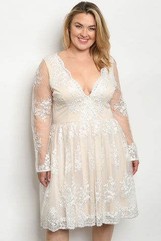 Ivory Plus Size Lace Cocktail Dress