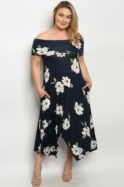 Navy Blue Floral Cold Shoulder Maxi Dress