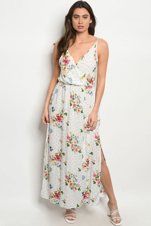 White Floral Polka Dot Maxi Dress