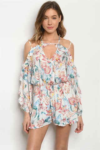 Ivory Floral Cold Shoulder Romper