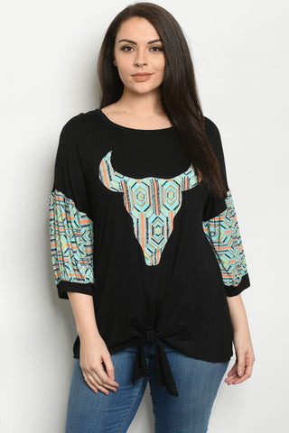 Black and Mint Skull Print Plus Size Top