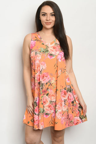 Orange Floral Plus Size Tunic Dress