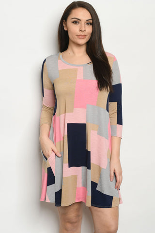 Pink and Blue Colorblock Plus Size Tunic Dress