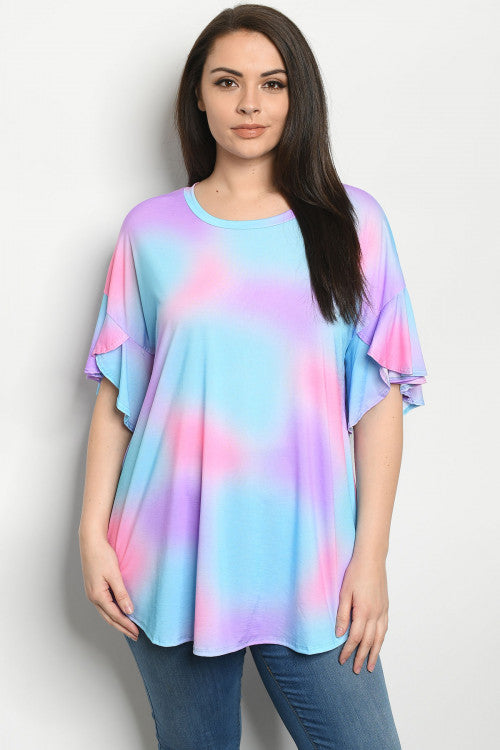 Blue and Pink Tie Dye Plus Size Top