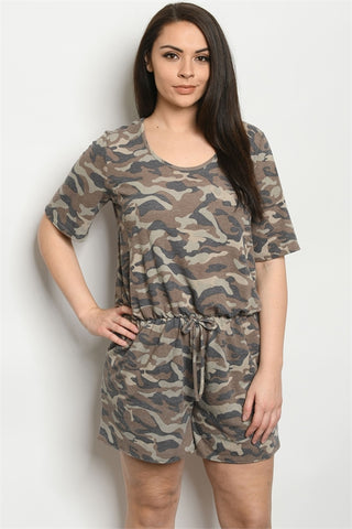 Camouflage Plus Size Romper