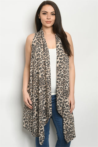 Leopard Animal Print Plus Size Cardigan Vest