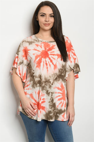 Ivory and Brown Tie Dye Plus Size Top