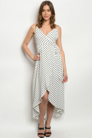 White Polka Dot High Low Wrap Dress