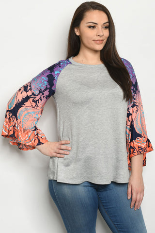 Grey Raglan Bell Sleeve Plus Size Top