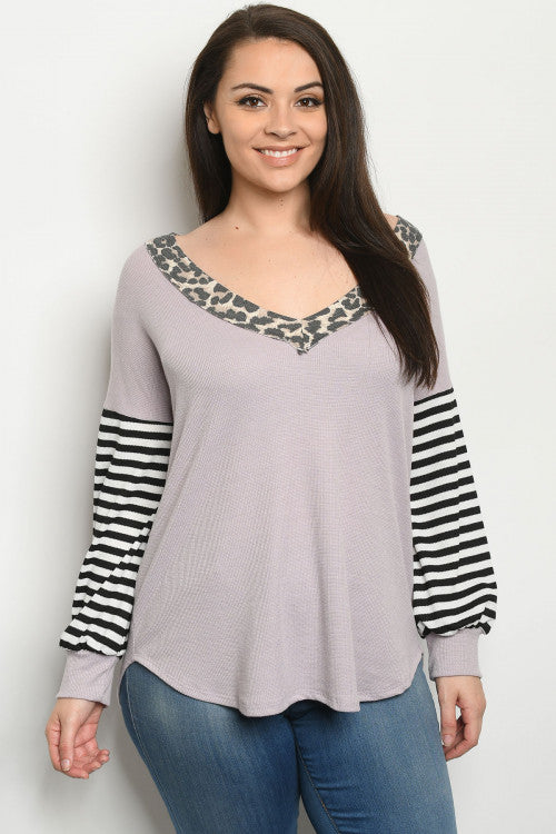 Lavender Animal Print Plus Size Top