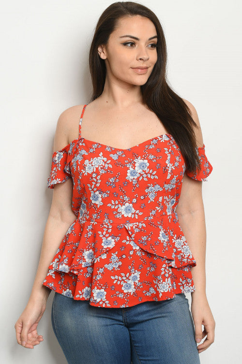 Red Floral Cold Shoulder Plus Size Peplum Top