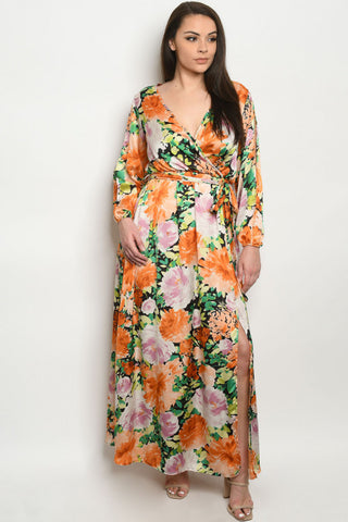 Orange Floral Plus Size Maxi Dress