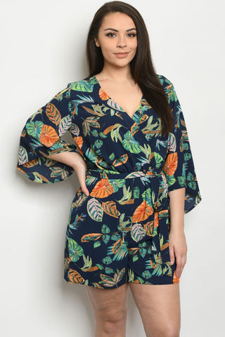 Navy Blue Tropical Floral Print Plus Size Romper