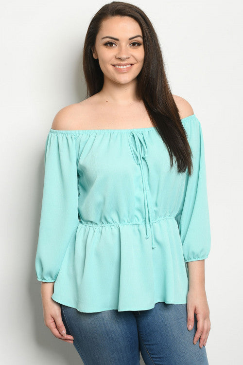 Mint Green Cold Shoulder Plus Size Peplum Top