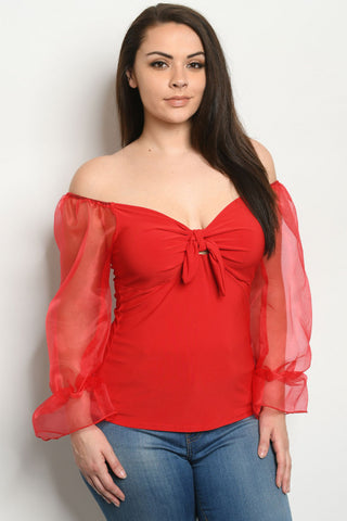 Red Cold Shoulder Plus Size Top
