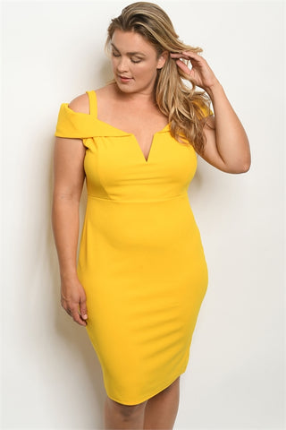 Yellow Plus Size Sheath Dress
