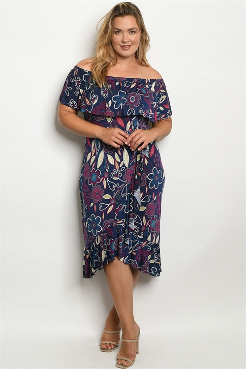 Navy Blue Floral Cold Shoulder Plus Size Dress