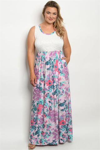 Pink Floral Lace Accent Plus Size Maxi Dress