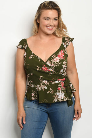 Olive Green Floral Faux Wrap Plus Size Peplum Top