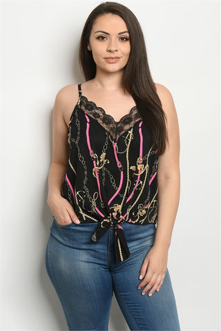 Black and Pink Lace Accent Plus Size Tank Top