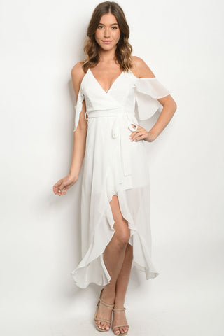White Ruffled Cold Shoulder High Low Maxi Dress