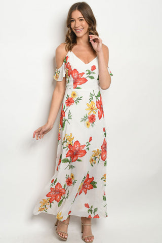Ivory Floral Cold Shoulder Maxi Dress