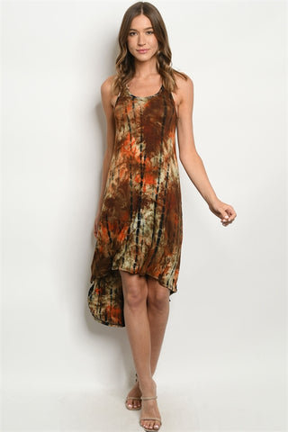 Orange and Brown Tie Dye Racer Back High Low Maxi Dress