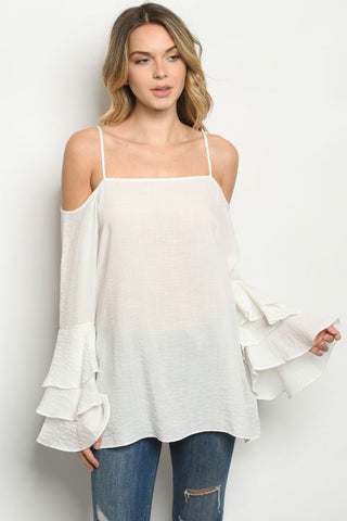 Off White Cold Shoulder Bell Sleeve Top