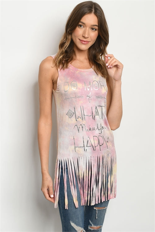 Pink Tie Dye Graphic Print Top