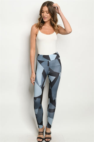 Indigo Blue Geometric Print Leggings
