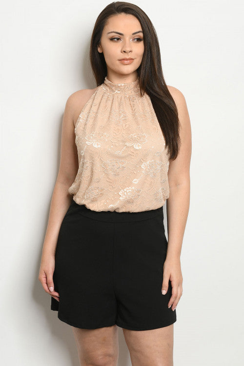 Taupe Lace Overlay Plus Size Romper