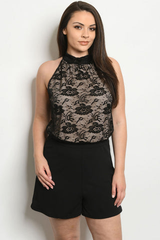 Black Lace Overlay Plus Size Romper