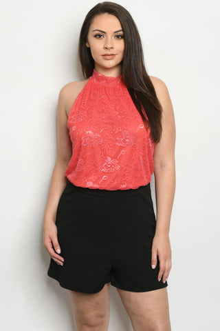 Coral Lace Overlay Plus Size Romper