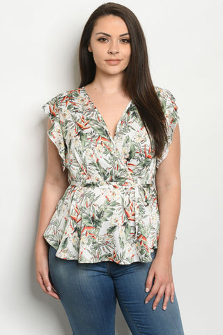 Ivory Tropical Floral Print Plus Size Top