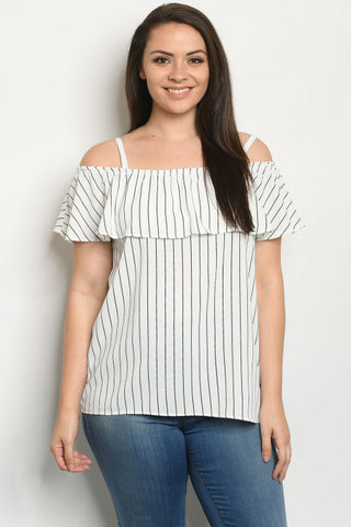 Ivory Stripe Cold Shoulder Plus Size Top