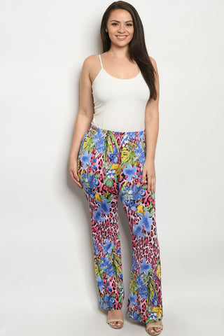 Blue Floral Plus Size Pants