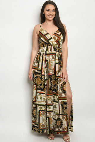Olive Green Chain Print Plus Size Maxi Dress