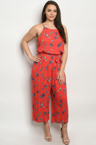 Red Floral Plus Size Wide Leg Jumpsuit