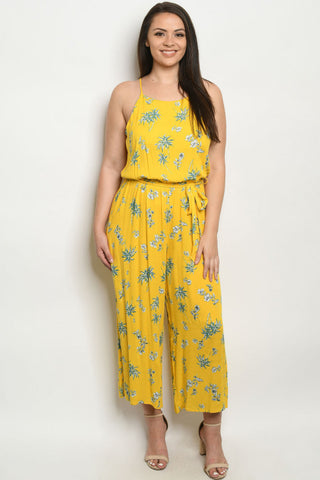 Yellow Floral Plus Size Wide Leg Jumpsuit