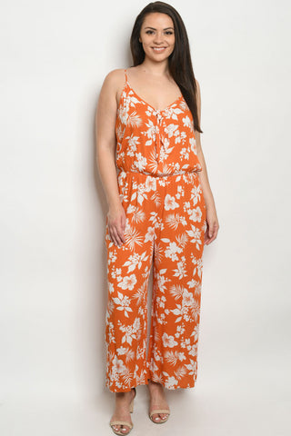 Rust and White Floral Plus Size Wide Leg Jumpsuit