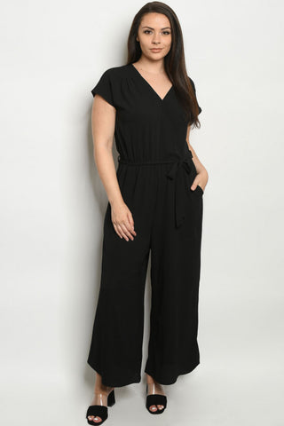 Black Plus Size Short Sleeve Jumpsuit