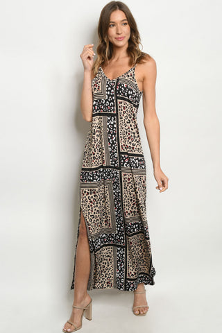 Taupe Leopard Print Maxi Dress