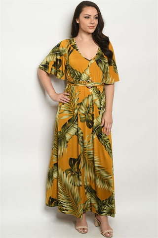 Mustard Yellow Tropical Print Plus Size Maxi Dress