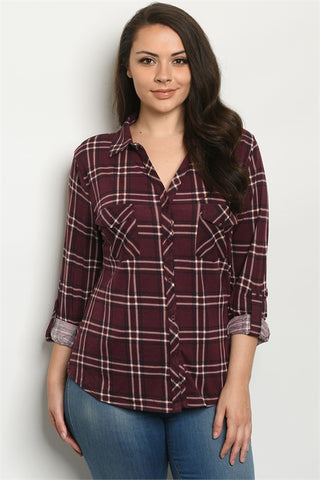 Plum Purple Checked Plus Size Top