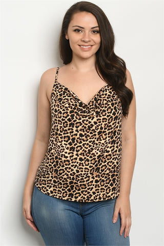 Leopard Print Plus Size Sleeveless Top