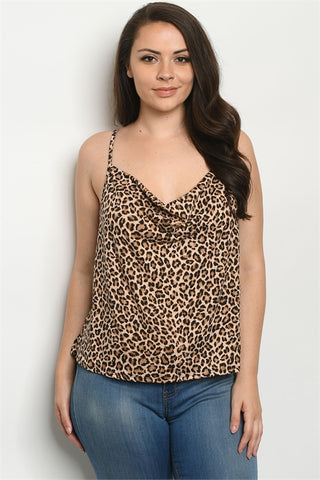 Taupe Leopard Print Plus Size Sleeveless Top