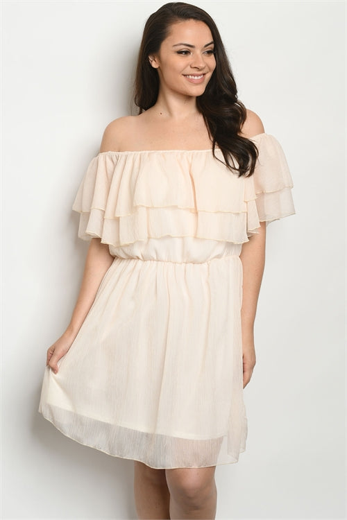 Soft Peach Ruffled Cold Shoulder Plus Size Dress