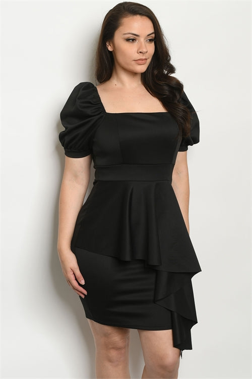 Black Ruffled Peplum Plus Size Bodycon Dress