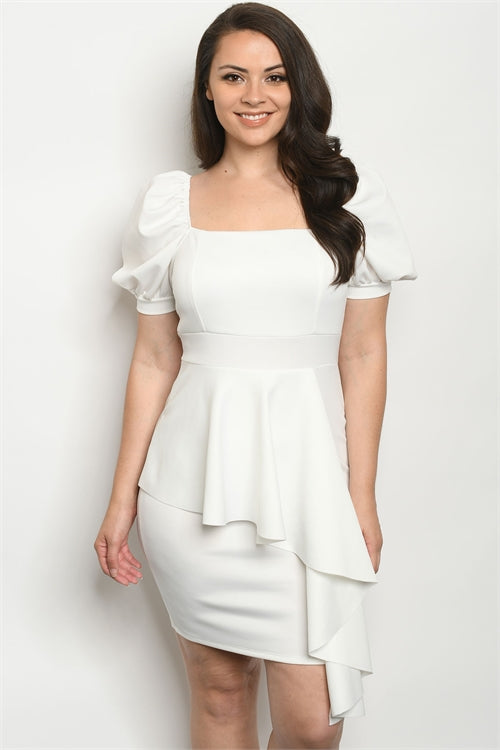 White Ruffled Peplum Plus Size Bodycon Dress