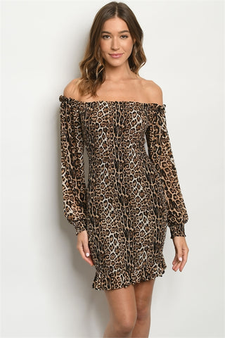 Cold Shoulder Leopard Print Bodycon Dress